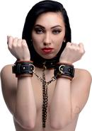 Master Series Coax Collar To Wrist Restraints - Brown